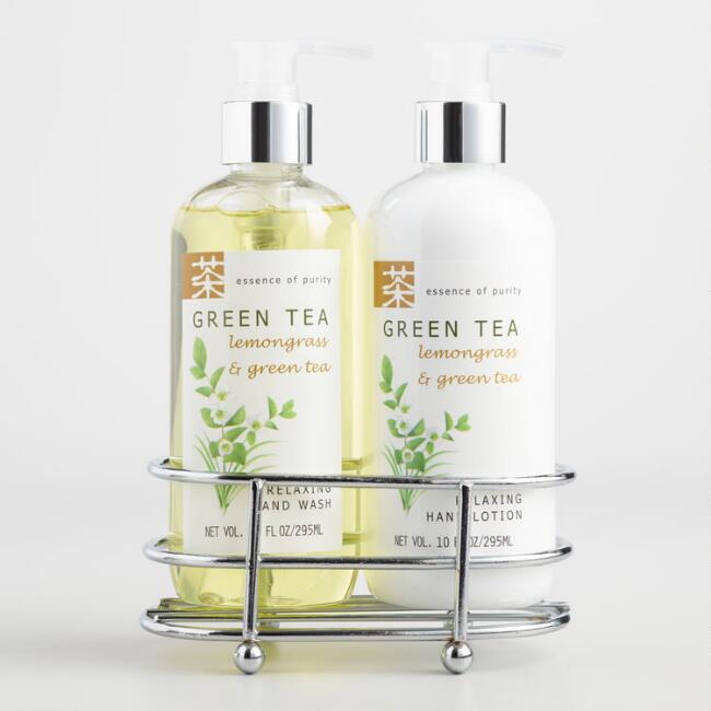 Green tea and lemongrass liquid hand soap lotion caddy Hand wash and lotion caddy