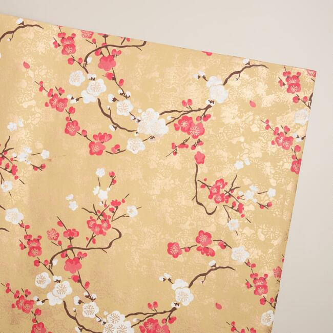 Pink & Gold Blossom Handmade Gift Wrap