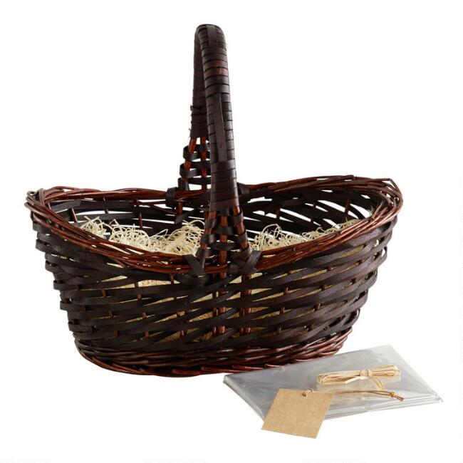 Dark Brown Gift Basket Kit With Handle