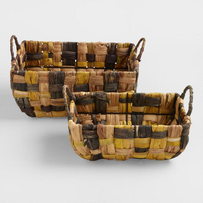 Brown Lily Rectangular Basket