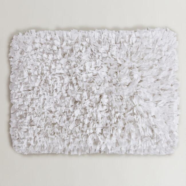 White Jersey Shag Bath Mat World Market