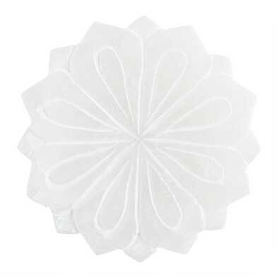 Round White Alabaster Lotus Soap Dish