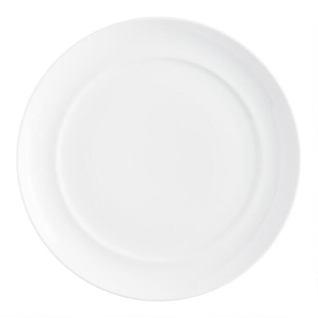 White Spin Dinner Plates, set of 4