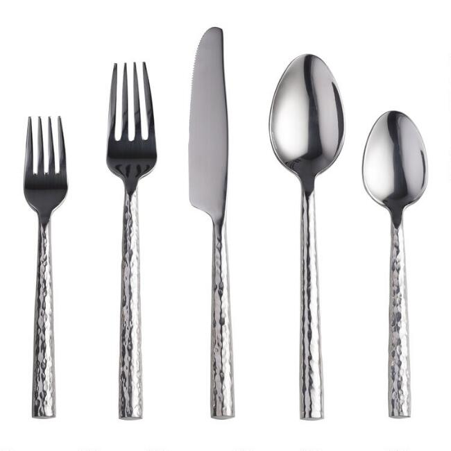 Hammered Stainless Steel Flatware Collection
