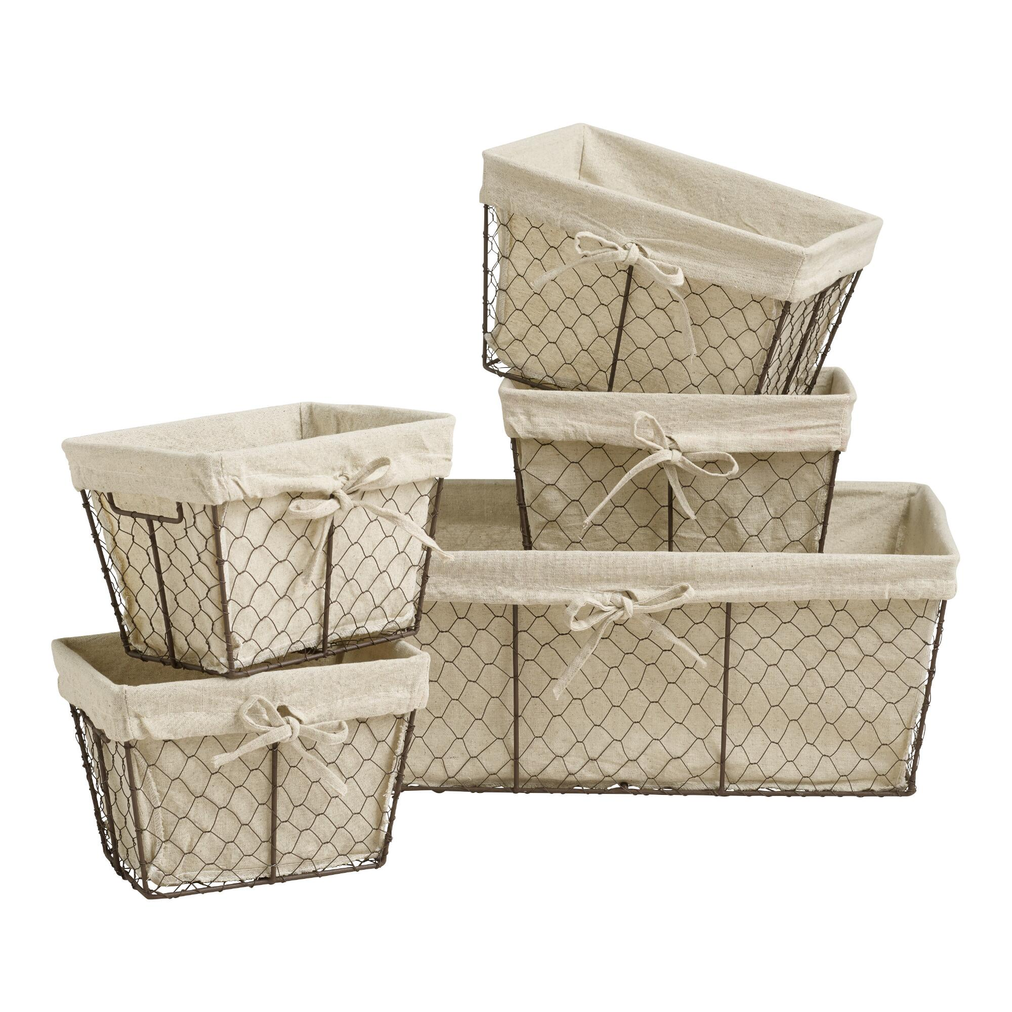 Charlotte Lined Wire Baskets: Natural - Metal - Large/Storage & Utility Baskets by World Market Large