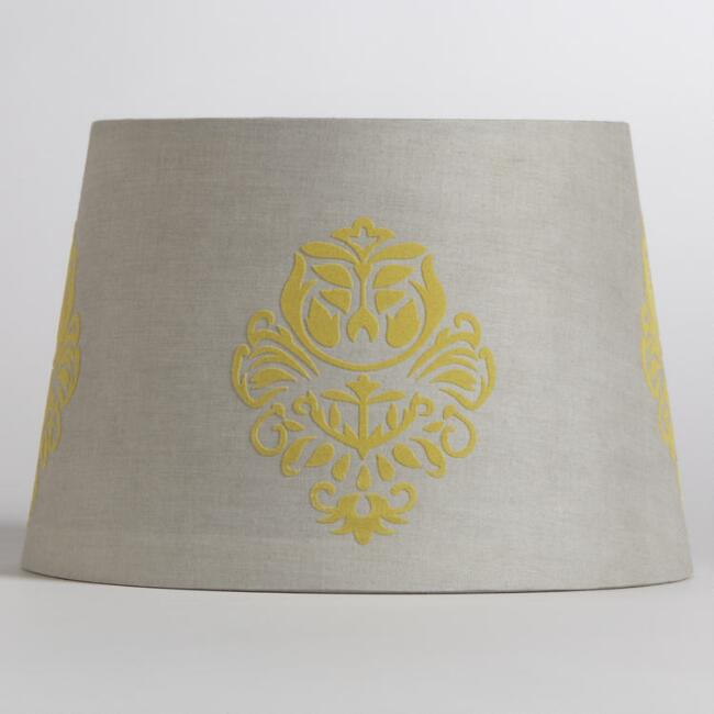 Gray Yellow Flower Accent Lamp Shade