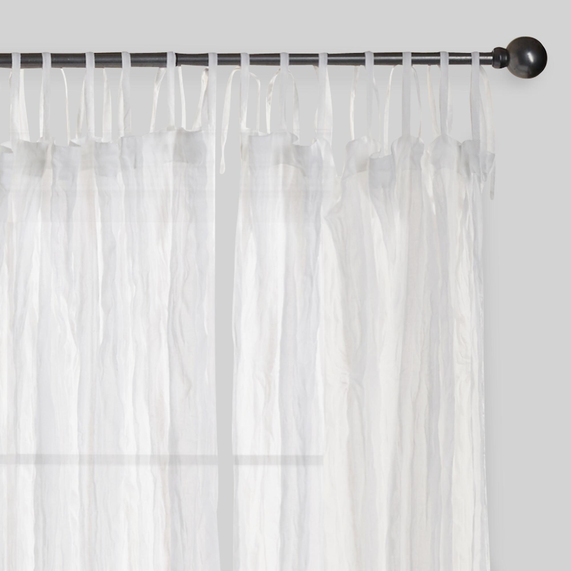 White Crinkle Sheer Voile Cotton Curtains Set Of 2