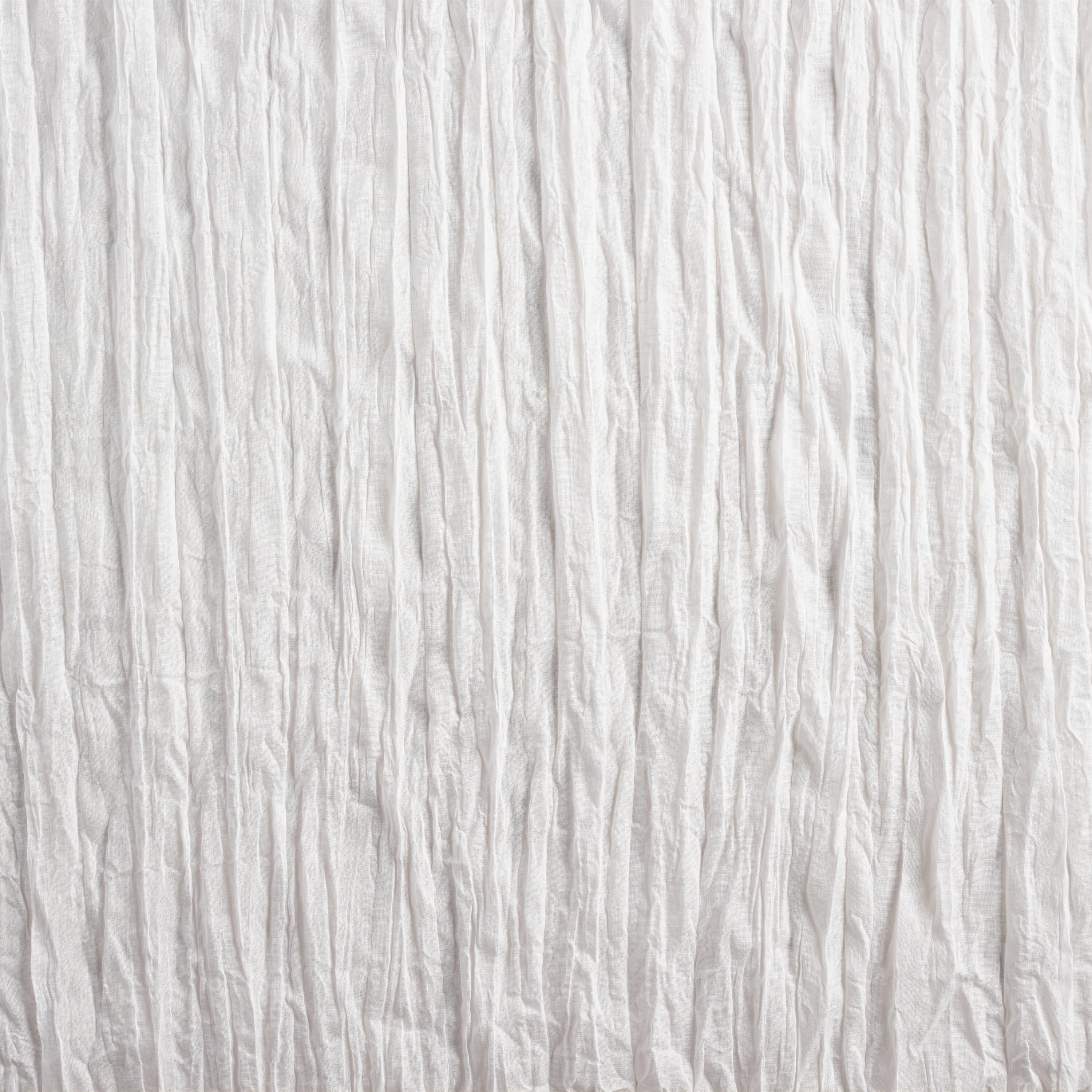 White Crinkle Sheer Voile Cotton Curtains Set Of 2 84