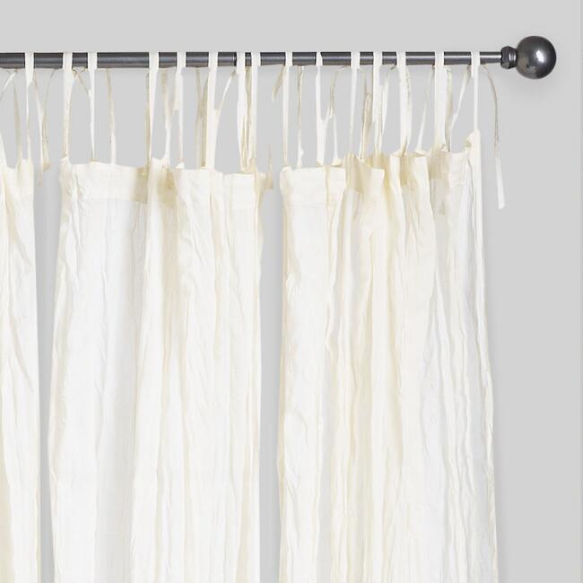 Natural Crinkle Voile Cotton Curtains, Set of 2