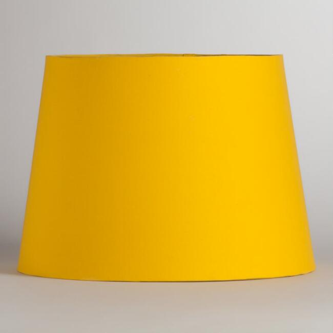 Yellow & Silver Embossed Table Lamp Shade