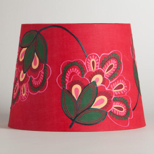 Pink embroidered flower table lamp shade world market aloadofball Choice Image