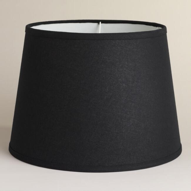 Black Cotton-Linen Table Lamp Shade