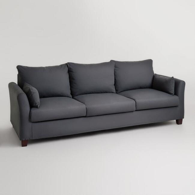 Charcoal Canvas Luxe 3 Seat Sofa Slipcover
