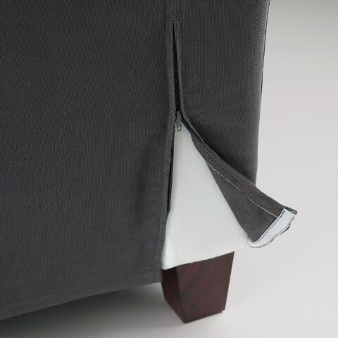 Charcoal Canvas Luxe 3 Seat Sofa Slipcover World Market