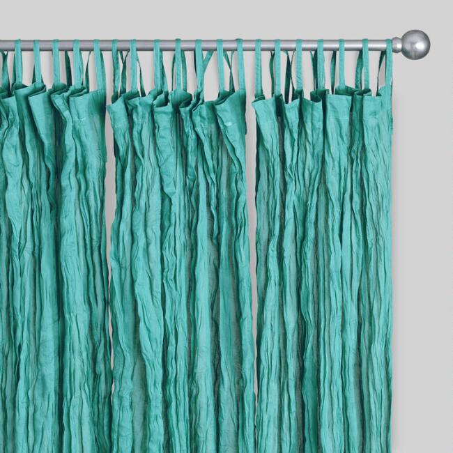 Blue Crinkle Voile Cotton Curtains Set Of 2