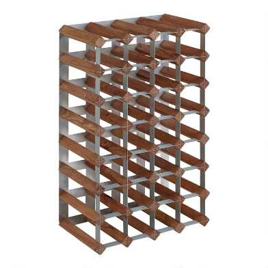 Wood and Metal 28 Bottle Industrial Wine Rack