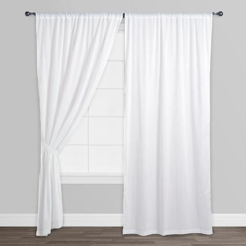 White Cotton Voile Curtains Set Of 2