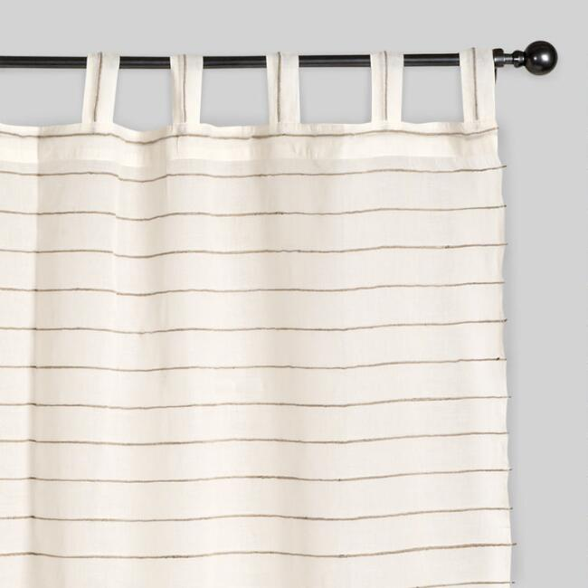 Ivory Jute Striped Sahaj Tab Top Curtains Set Of 2