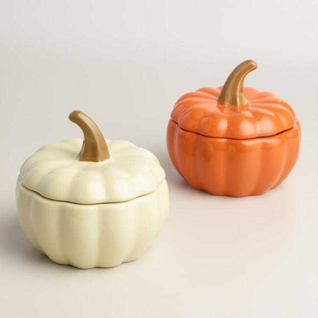 Ceramic Pumpkin Bakers Set of 4