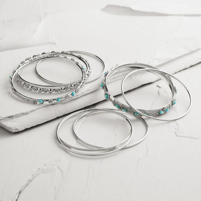 Silver and Turquoise Indian Bangle Bracelets, Set of 9