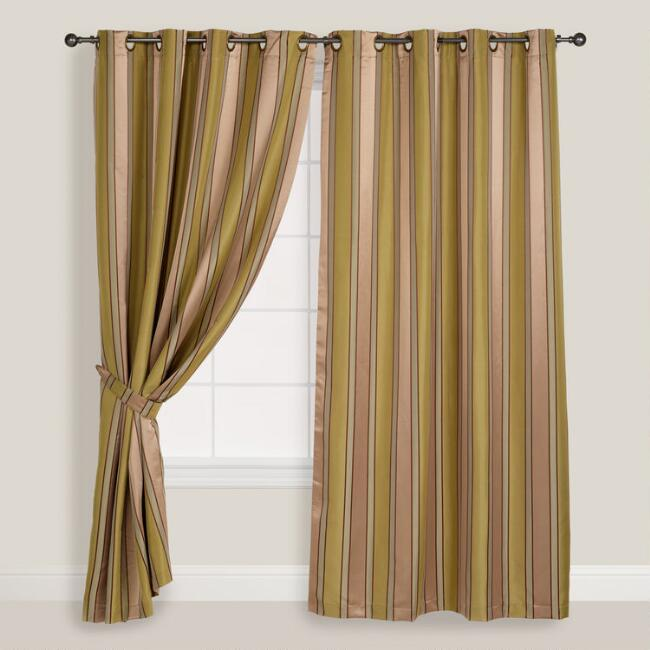 Sage and Taupe Striped Imperial Grommet Top Curtain