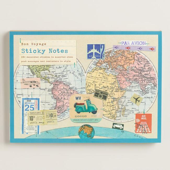 Bon Voyage Large Sticky Notes, Set of 8