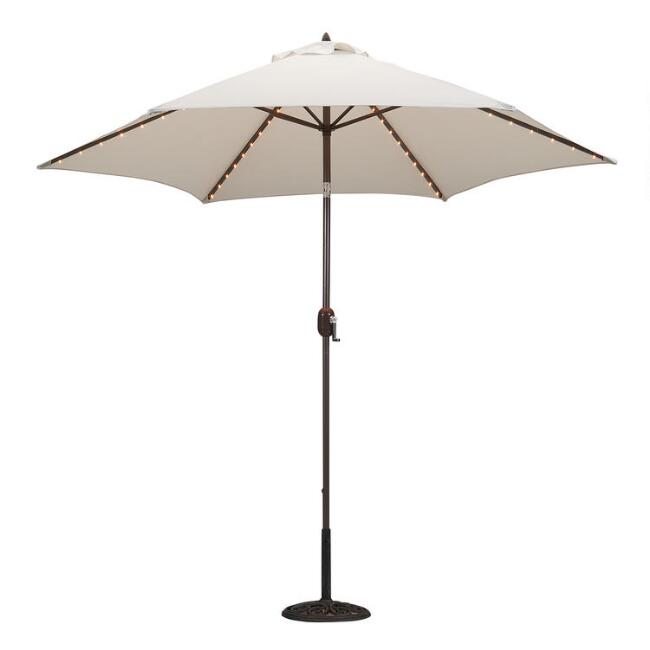 Natural 9 Ft Tilting Outdoor Umbrella With Lights
