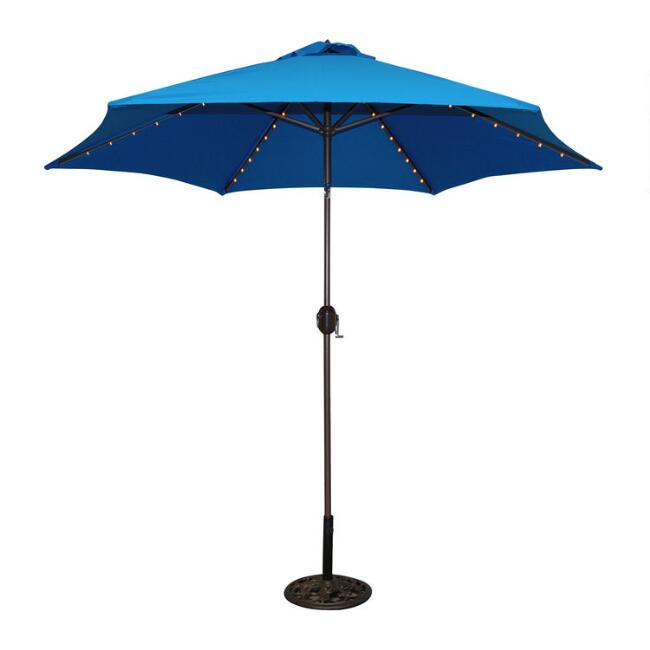 Royal Blue 9 Ft Tilting Outdoor Umbrella With Lights