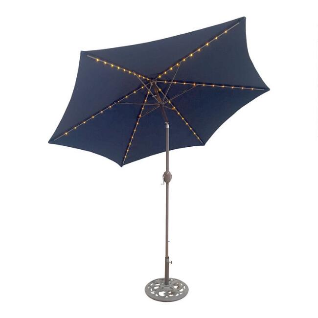 Navy 9 Ft Tilting Outdoor Umbrella With Lights