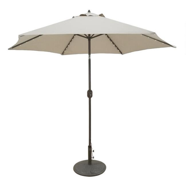 Khaki 9 Ft Tilting Outdoor Umbrella With Lights