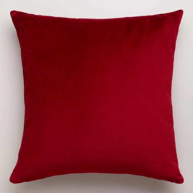 Red Throw Pillows For Bed : Red Velvet Throw Pillow World Market