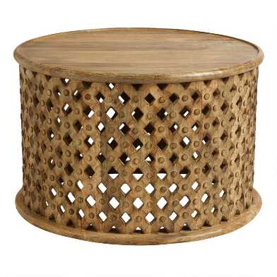 Round Lattice Carved Wood Coffee Table