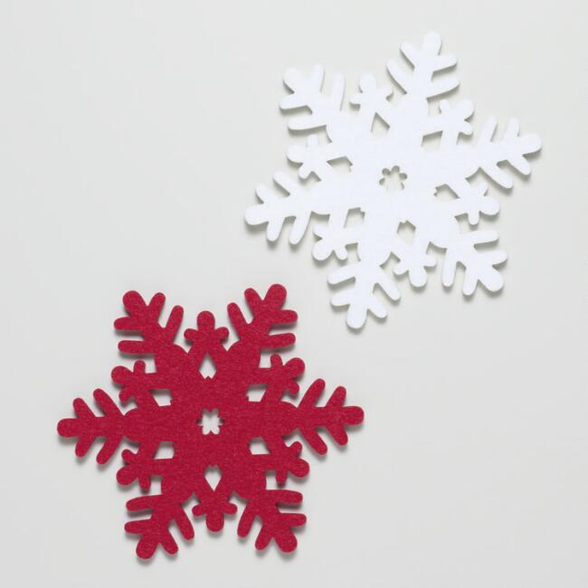 Felt Coaster Snowflakes, Set of 6