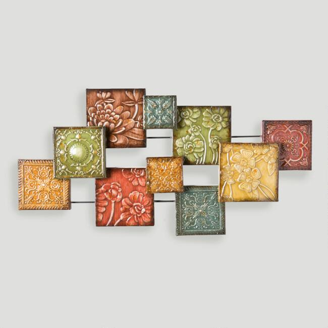 Hand Painted Tiles Wall Sculpture