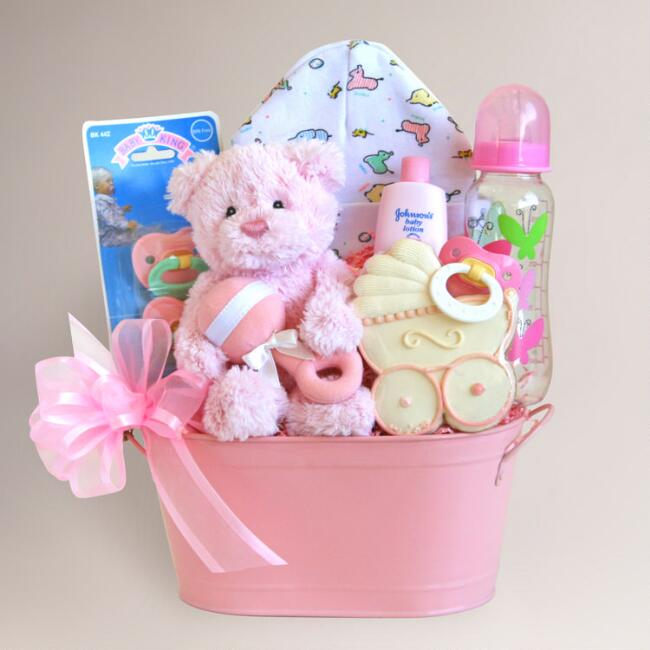 Cuddly welcome for baby girl gift basket world market cuddly welcome for baby girl gift basket negle Choice Image