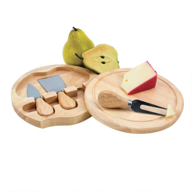 Rubberwood Cheese Board And Tools Set