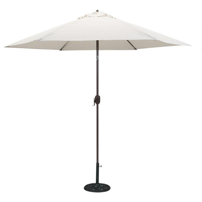 Natural 9 Ft Tilting Outdoor Umbrella