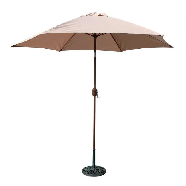 Khaki 9 Ft Tilting Outdoor Umbrella