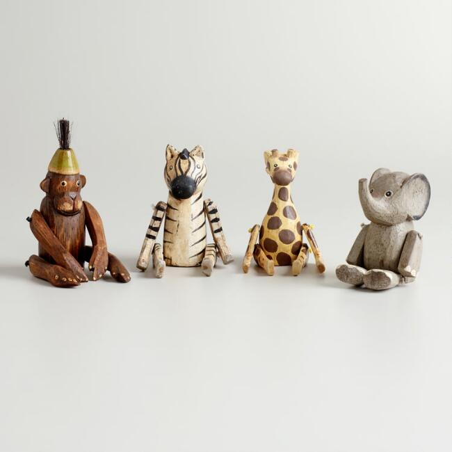Mini Wood Sitting Animal Decor Set of 4