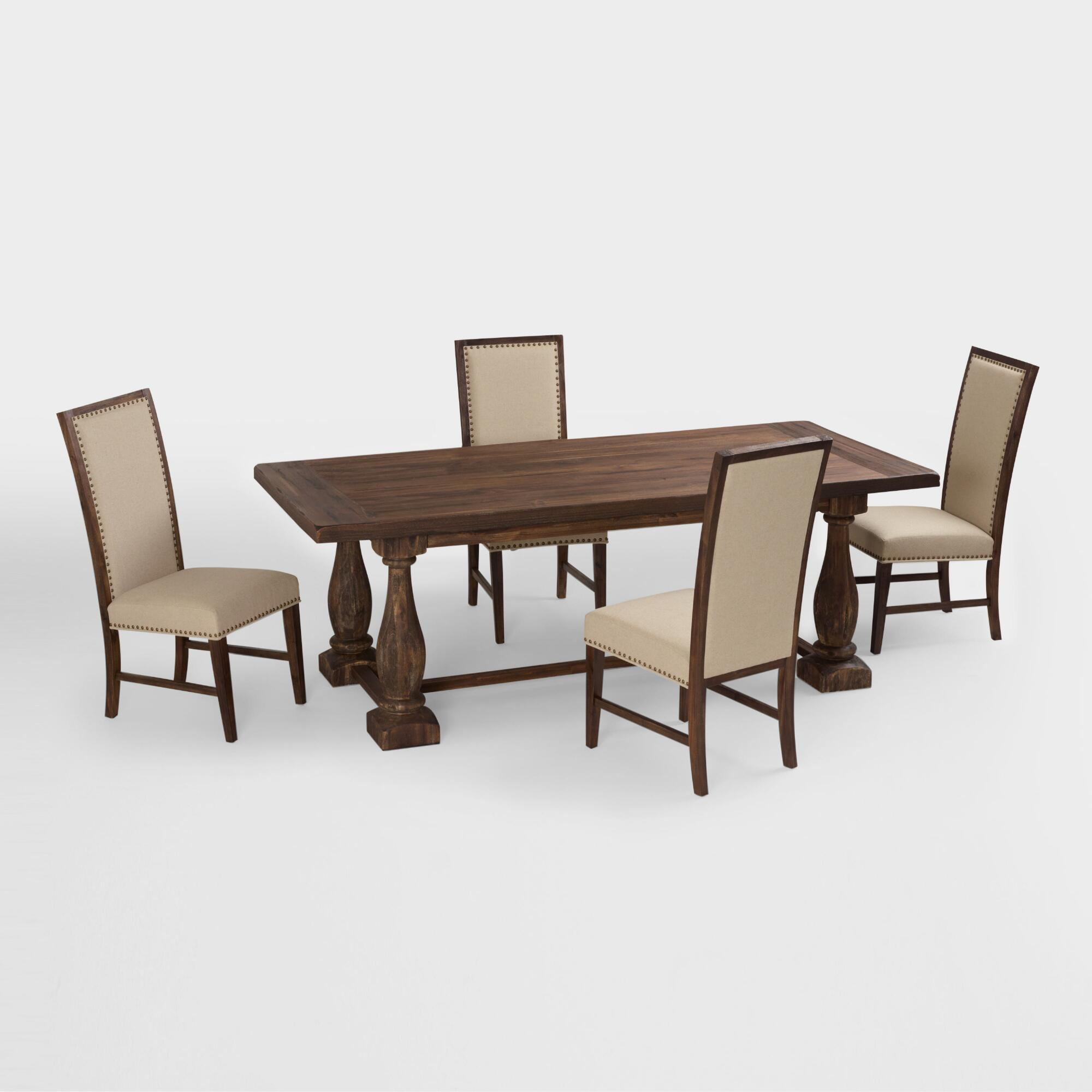 rustic java greyson fixed dining table world market - Wooden Dining Table With Chairs
