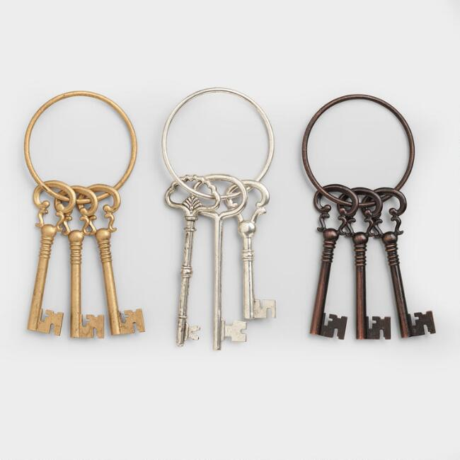 Metal Victorian Style Key Ring Decor Set of 3