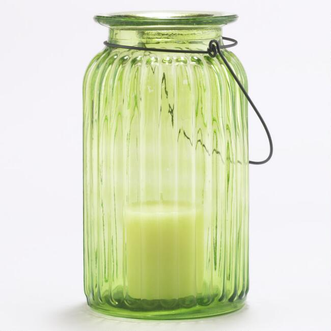 Green Ribbed Glass Lantern Candle Holder
