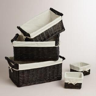espresso isabella baskets - Bathroom Baskets