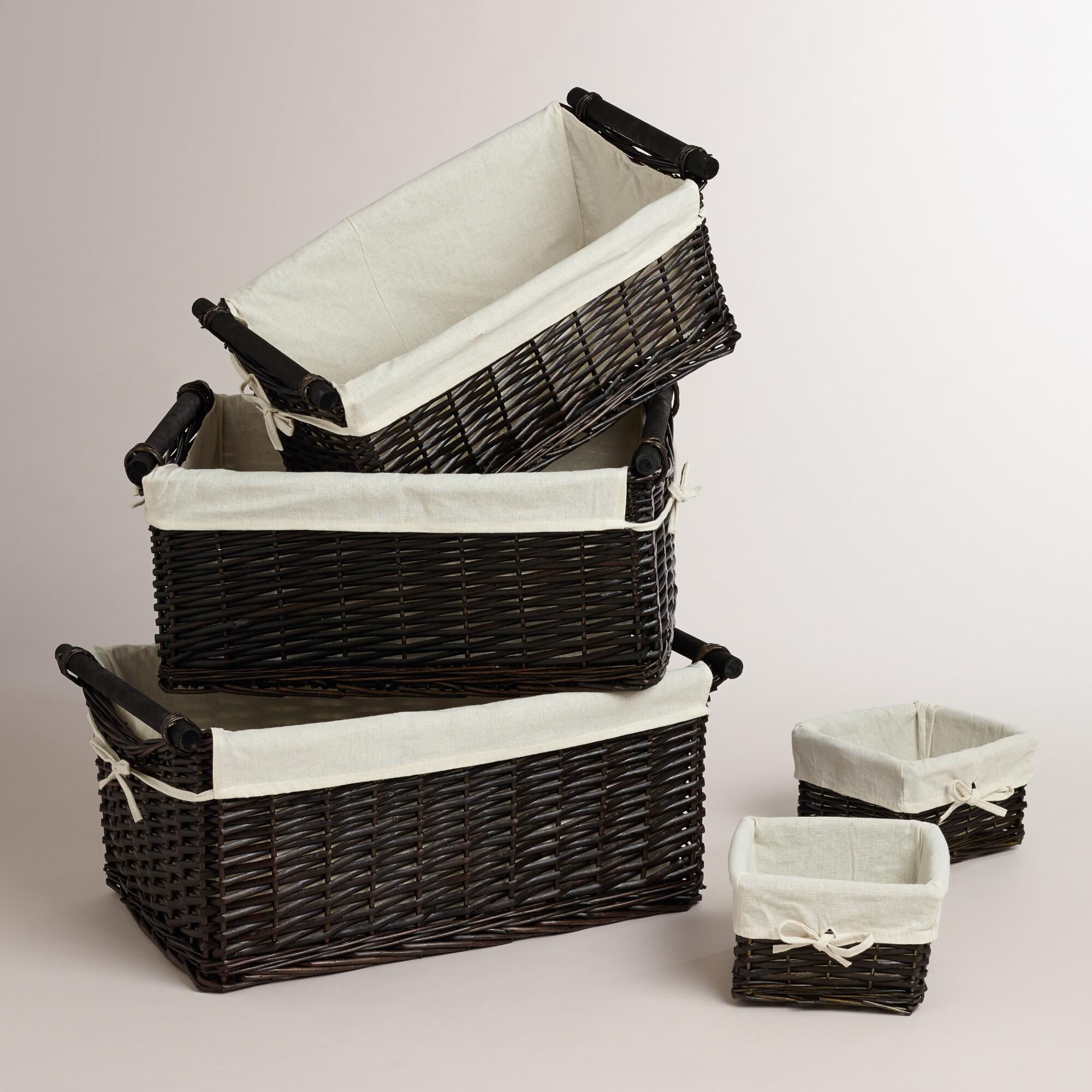 Espresso Isabella Baskets: Brown - Natural Fiber - Exsmall,setof3 by World Market Exsmall,setof3