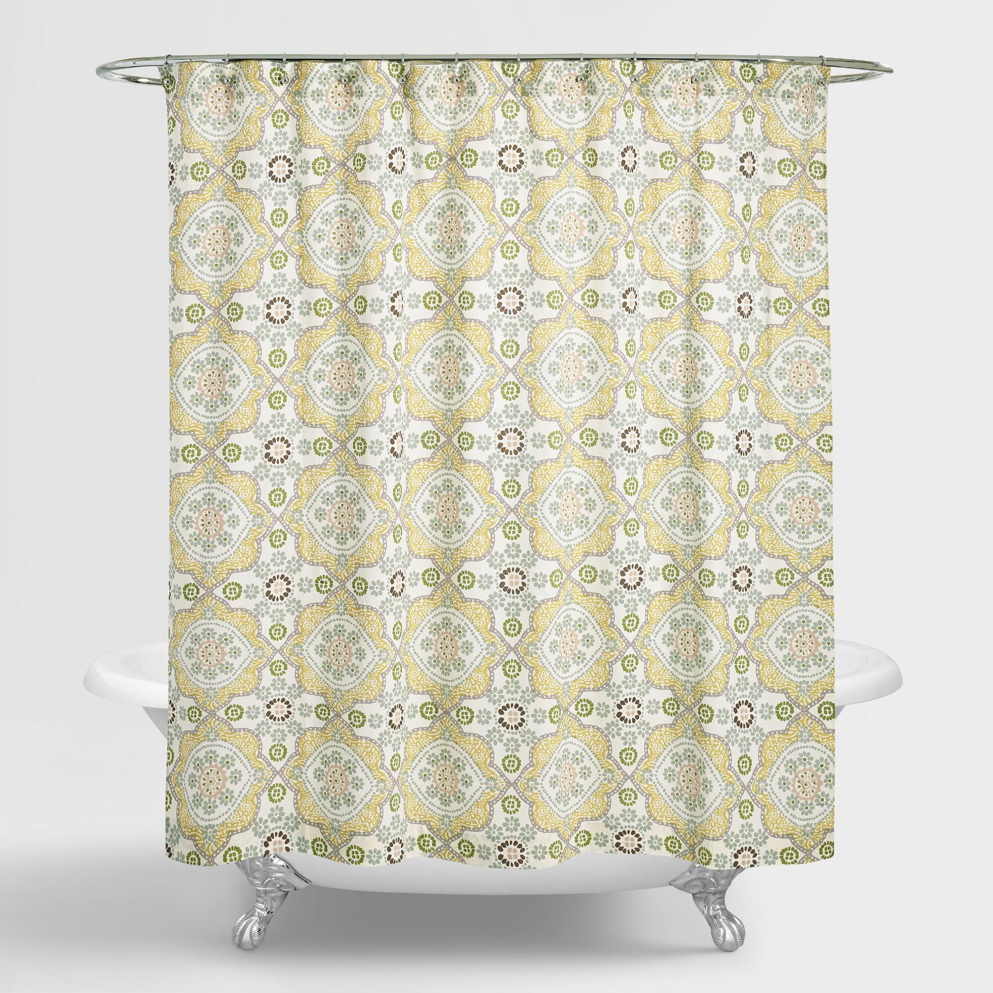 navy and tan shower curtain. Mosaic Shower Curtain Curtains  Rings World Market