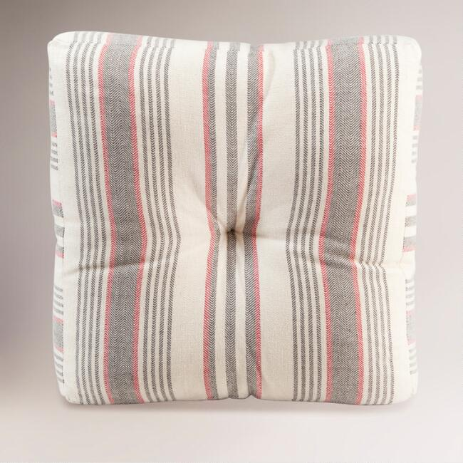 Gray Floor Pillows : Gray/Red Herringbone Floor Cushion World Market