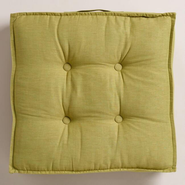 Green Khadi Tufted Floor Cushion