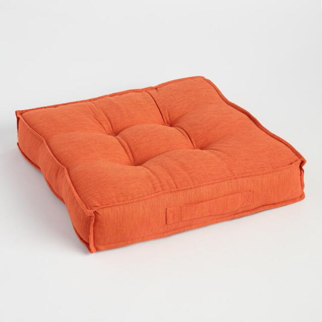 Orange Khadi Tufted Floor Cushion