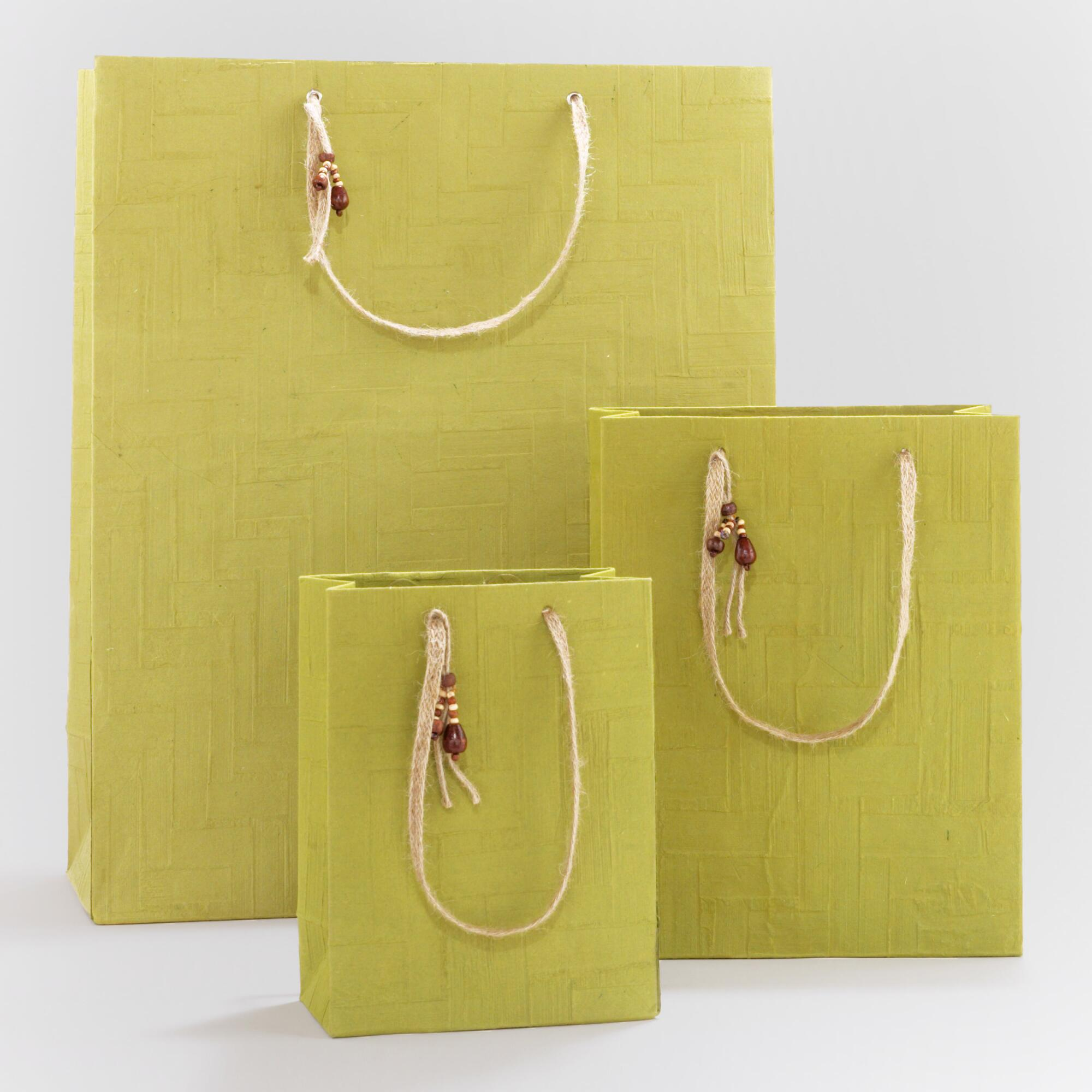 Woven Green Gift Bags - Natural Fiber - Large by World Market Large