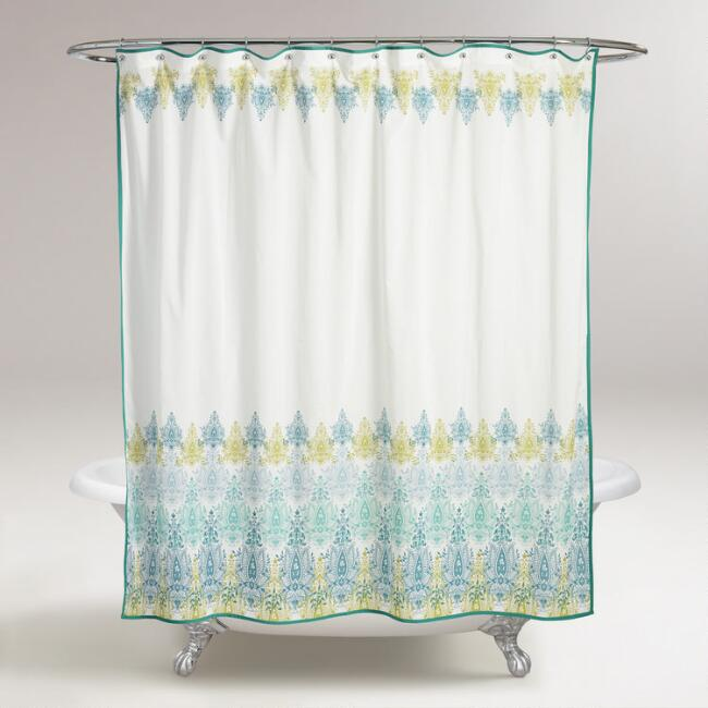 Blue Green Print Shower Curtain